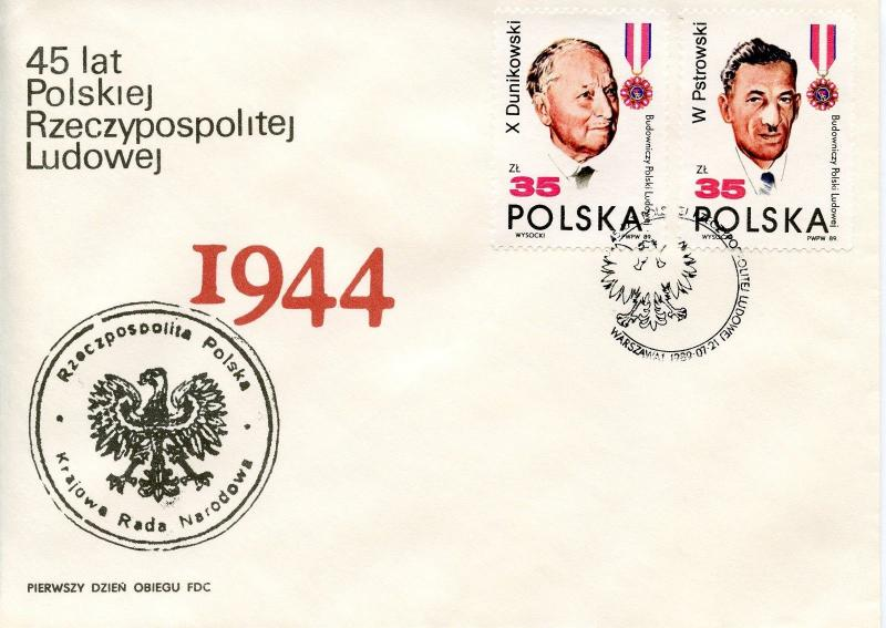 POLAND  -  1989  45th Anniversary of the People's Republic of Poland   FDC3398
