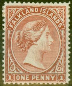 Falkland Is 1892 1d Reddish Claret SG19 Fine Mtd Mint