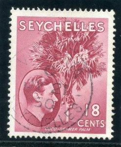 Seychelles 1949 KGVI 18c rose-carmine very fine used. SG 139cb.
