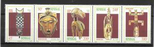 SENEGAL MNH STRIP OF 5 SC#1279A MASKS SCV$4.00