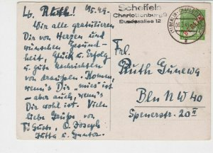 Berlin 1949 Charlottenburg Cancel Vase of Flowers Picture Stamps Card Ref 26074