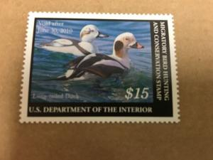 RW76  $15.00 Long-Tailed Duck   - Superb- OGNH