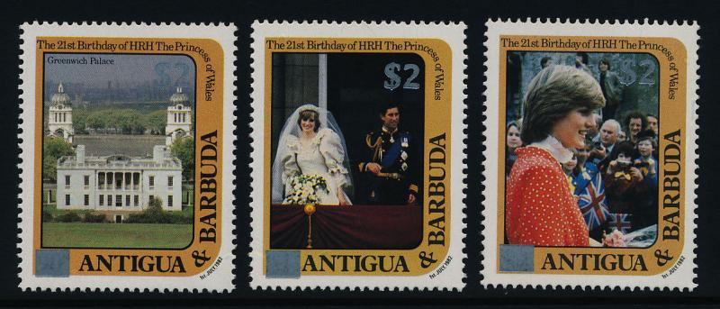 Antigua 797,9,803 MNH Princess Diana 21st Birthday Silver o/p