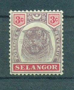 Malaya - Selangor sc# 29 mh cat value $7.00