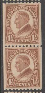 U.S. Scott #605 Harding Stamp - Mint Pair