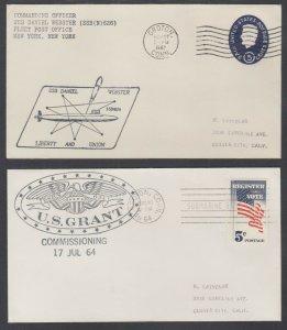 US, 1963 USS Daniel Webster & 1964 U.S. Grant Submarine Commissioning Covers