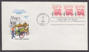US Sc 2261, PNC 1 FDC. 1988 16.7c Popcorn Wagon, Coil Strip of 3
