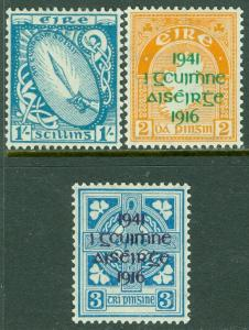 EDW1949SELL : IRELAND 1940-42 Scott #117, 118-19 All VF Mint OG LH. Catalog $228