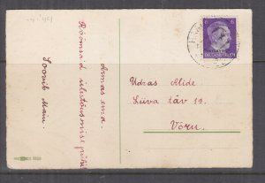 ESTONIA, 1944 ppc. Easter Eggs, Germany OSTLAND 6pf. overprint, HAAN? to Voru
