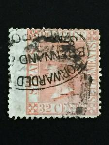 Malaya Straits Settlements 1867 QV 32c Used SG#18 CV£70 M2157