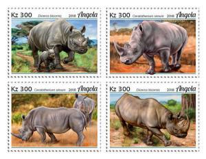 Z08 ANG18102a ANGOLA 2018 Rhinos 4v MNH ** Postfrisch