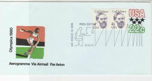 United States 1980 Olympics LA Press Center Slogan Stamps Aerogram Ref 26135