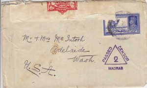 194X, India to Adelaide, WA, Madras Censor Handstamp, See Remark (C3062)