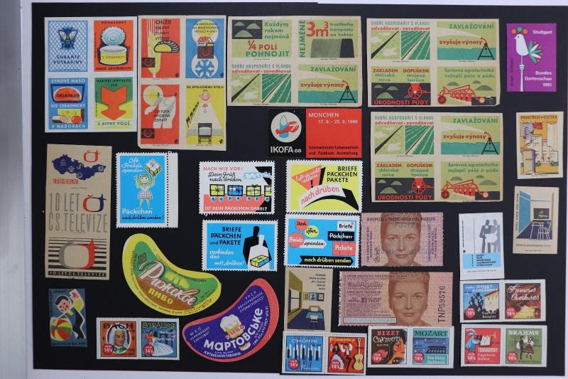 European Poster stamp ephemera lot 50x Lottery ticket food label mail order ad
