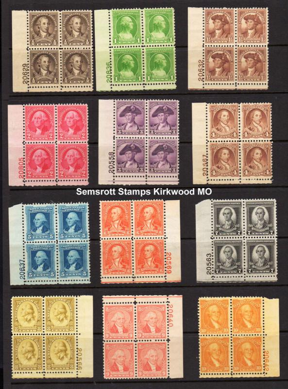 US Stamps: 704-715 Plate Blocks  Mint Never Hinged cv$409.50  (981)