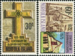 Norfolk Island 1975 SG168-169 Barnabas Chapel set MNH
