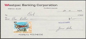 NORFOLK IS 1984 Cheque with 20c CHEQUE DUTY stamp...........................L421