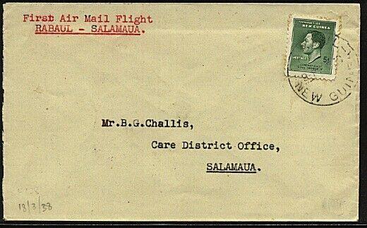 NEW GUINEA 1938 first flight cover Rabaul to Salamaua - scarce.............19422