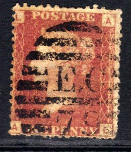 GB 1864 – 79 QV 1d Red used Plate 136 ( A & L ) ( H575 )