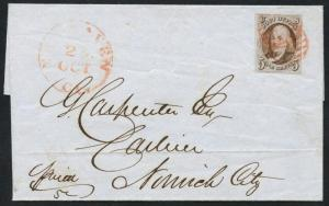 #1 VF-XF ON FOLDED LETTER GOING TO NORWICH, CONN. CV $525++ HW2856
