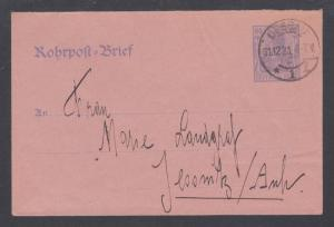 Germany Mi RU9 used. 1920 60pf Pneumatic Post Envelope, 1921 Dessau CDS, VF.