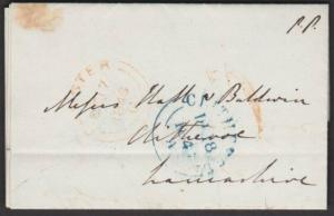 GB 1846 entire with distinctive handstruck 1 in red of CHESTER - ..........57405