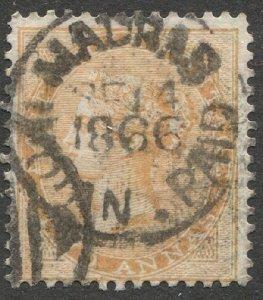 INDIA 1865, 2a yellow orange, Sc 23, Used, VF, MADRAS PAID 1866 cancel