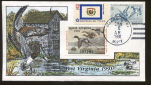 1991 Ellamore West Virginia Mallard Ducks Milford Hand Painted FDC Stamp #9
