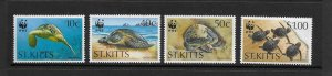 TURTLES - ST KITTS #381-4  WWF  MNH