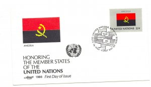 United Nations #487 Flag Series 1986, Angola, Artmaster FDC