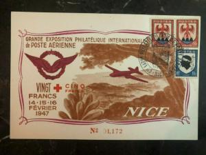 1947 Nice France Airmail Philatelic Exhibition Postcard Cover 25 francs