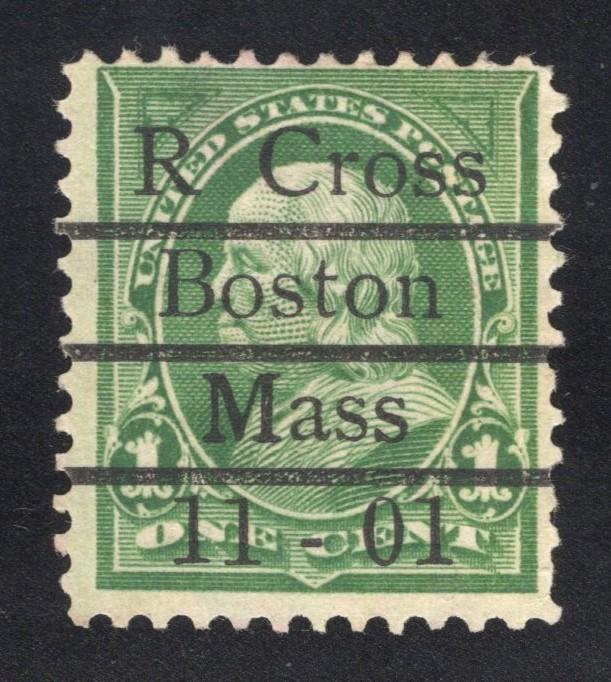 US#279 Green - R. Cross Boston Precancel