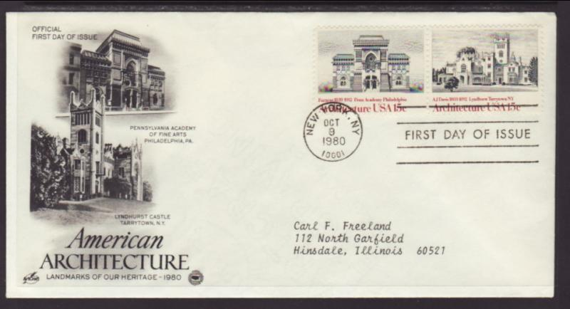 US Academy of Fine Arts Architecture 1980 PCS Typed FDC BIN