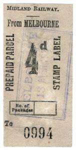 (I.B) Midland Railway : Prepaid Parcel 4d (Melbourne)