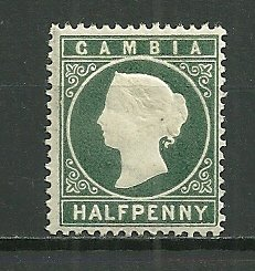 1886 Gambia Embossed ½p Victoria MNH
