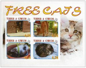 TURKS CAICOS SHEET IMPERF CINDERELLA CATS