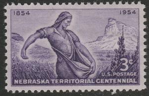 US 1060 Nebraska Territorial 3c single (1 stamp) MNH 1954
