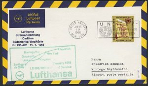 UNITED NATIONS / USA 1966 Lufthansa first flight to Lima - Jamaica..........H275