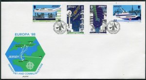 Jersey 452-455,FDC.Michel 435-438. EUROPE CEPT-1988.Air transport,Map.