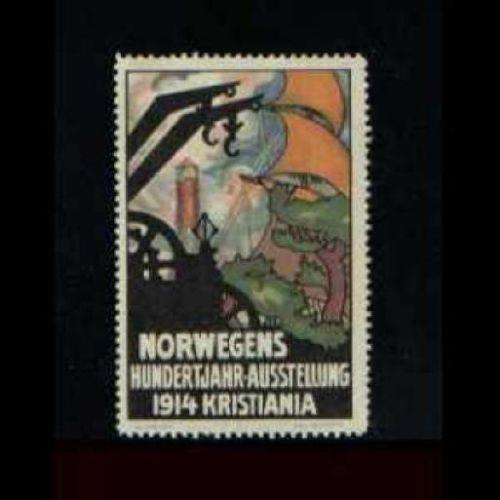 Norway 1914 Kristiania Expo Lighthouse Poster Stamp