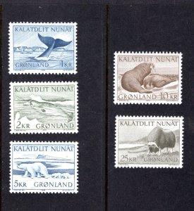 Greenland 71-75,  Complete Set, VF, MNH, Post Office Fresh, CV $16.30 ...2510195