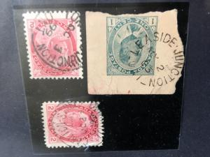 Canada Scarce Toronto Postal Cancels on 1c Edward Postal Stat. & Two QV 2c Numer
