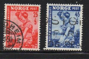 Norway Sc B48-9 1950 Polio stamp set used