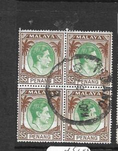 MALAYA PENANG (P1401B) KGVI $5.00  SG 22, 19 BL OF 4  VFU