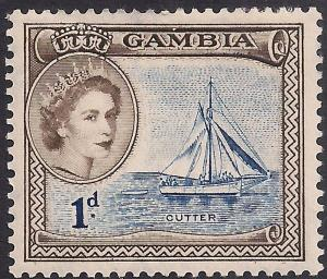 Gambia 1953 - 59 QE2 1d Cutter Ship MM SG 172 ( D826 )