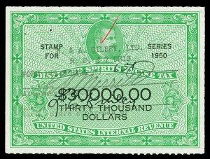 Scott RX23 1950 $30,000 Distilled Spirits Revenue Used VF Hand Cancel Cat $70