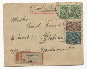 Germany Registered Stuttgart Cover w/ WWI Censor on Back