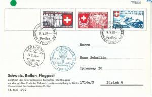 709832 - SWITZERLAND - Postal History - SPECIAL FLIGHT CARD - BALLOONS 1939