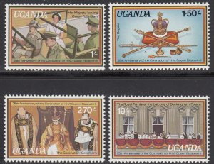 Uganda, Sc 215-218, MNH, 1979, 25th Anniv. of Coronation