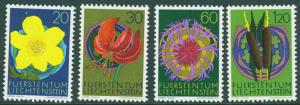 LIECHTENSTEIN Scott 500-503 MNH** 1972 Munich Flower set